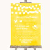 Yellow Watercolour Lights Pick A Prop Photobooth Customised Wedding Sign