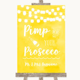 Yellow Watercolour Lights Pimp Your Prosecco Customised Wedding Sign