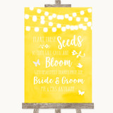 Yellow Watercolour Lights Plant Seeds Favours Customised Wedding Sign