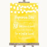 Yellow Watercolour Lights Popcorn Bar Customised Wedding Sign
