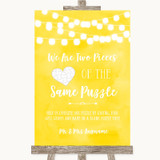 Yellow Watercolour Lights Puzzle Piece Guest Book Customised Wedding Sign