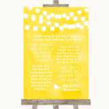 Yellow Watercolour Lights Romantic Vows Customised Wedding Sign