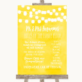 Yellow Watercolour Lights Rules Of The Dance Floor Customised Wedding Sign