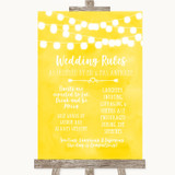 Yellow Watercolour Lights Rules Of The Wedding Customised Wedding Sign