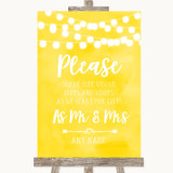 Yellow Watercolour Lights Share Your Wishes Customised Wedding Sign