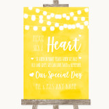 Yellow Watercolour Lights Sign a Heart Customised Wedding Sign