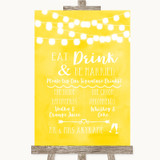Yellow Watercolour Lights Signature Favourite Drinks Customised Wedding Sign
