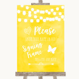 Yellow Watercolour Lights Signing Frame Guestbook Customised Wedding Sign