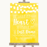 Yellow Watercolour Lights Stole Last Name Customised Wedding Sign