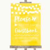 Yellow Watercolour Lights Take A Moment To Sign Our Guest Book Wedding Sign