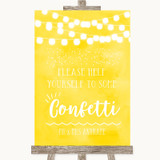 Yellow Watercolour Lights Take Some Confetti Customised Wedding Sign
