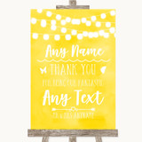 Yellow Watercolour Lights Thank You Bridesmaid Page Boy Best Man Wedding Sign
