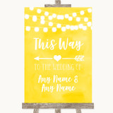 Yellow Watercolour Lights This Way Arrow Left Customised Wedding Sign