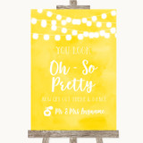 Yellow Watercolour Lights Toilet Get Out & Dance Customised Wedding Sign