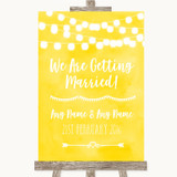 Yellow Watercolour Lights We Are Getting Married Customised Wedding Sign