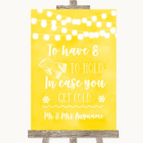 Yellow Watercolour Lights Wedding Blanket Scarf Customised Wedding Sign