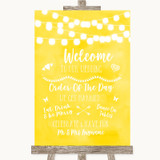 Yellow Watercolour Lights Welcome Order Of The Day Customised Wedding Sign
