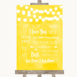 Yellow Watercolour Lights When I Tell You I Love You Customised Wedding Sign