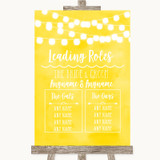 Yellow Watercolour Lights Who's Who Leading Roles Customised Wedding Sign