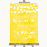 Yellow Watercolour Lights Wishing Well Message Customised Wedding Sign
