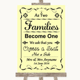 Yellow As Families Become One Seating Plan Customised Wedding Sign