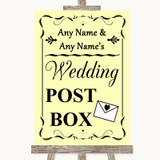 Yellow Card Post Box Customised Wedding Sign