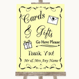 Yellow Cards & Gifts Table Customised Wedding Sign