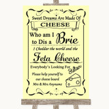 Yellow Cheese Board Song Customised Wedding Sign