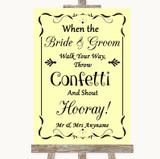 Yellow Confetti Customised Wedding Sign