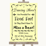 Yellow Dancing Shoes Flip-Flop Tired Feet Customised Wedding Sign