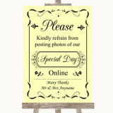 Yellow Don't Post Photos Online Social Media Customised Wedding Sign