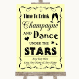 Yellow Drink Champagne Dance Stars Customised Wedding Sign