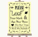 Yellow Fingerprint Tree Instructions Customised Wedding Sign