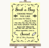 Yellow Grab A Bag Candy Buffet Cart Sweets Customised Wedding Sign