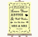 Yellow Guestbook Advice & Wishes Lesbian Customised Wedding Sign
