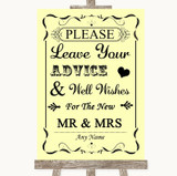 Yellow Guestbook Advice & Wishes Mr & Mrs Customised Wedding Sign