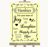 Yellow Hankies And Tissues Customised Wedding Sign