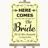 Yellow Here Comes Bride Aisle Sign Customised Wedding Sign