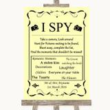 Yellow I Spy Disposable Camera Customised Wedding Sign