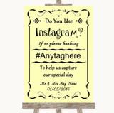 Yellow Instagram Photo Sharing Customised Wedding Sign