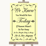 Yellow Loved Ones In Heaven Customised Wedding Sign