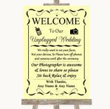 Yellow No Phone Camera Unplugged Customised Wedding Sign