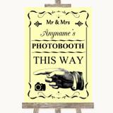 Yellow Photobooth This Way Left Customised Wedding Sign