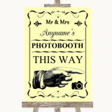 Yellow Photobooth This Way Right Customised Wedding Sign