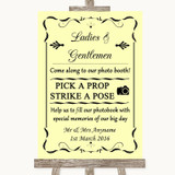 Yellow Pick A Prop Photobooth Customised Wedding Sign