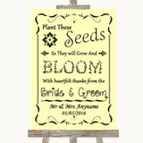Yellow Plant Seeds Favours Customised Wedding Sign