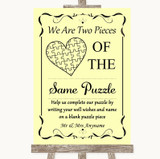Yellow Puzzle Piece Guest Book Customised Wedding Sign