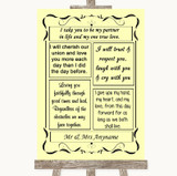 Yellow Romantic Vows Customised Wedding Sign