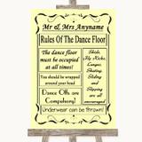 Yellow Rules Of The Dancefloor Customised Wedding Sign