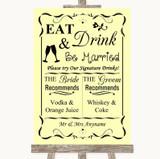 Yellow Signature Favourite Drinks Customised Wedding Sign